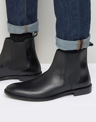 Asos Wide Fit Chelsea Boots In Black Leather Black