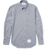 Thom Browne Slim Fit Button Down Collar Gingham Cotton Shirt Midnight Blue