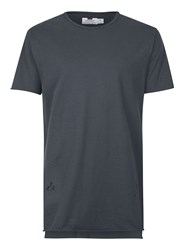 Topman Grey Charcoal Distressed Longline T Shirt