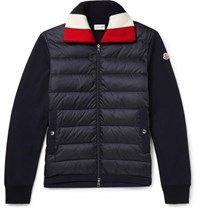 Moncler Panelled Fleece Back Cotton Jersey And Quilted Shell Down Jacket Navy