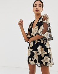 Dolly And Delicious Flutter Sleeve Embroidered Mini Dress Black