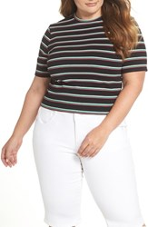 Plus Size Bp. Stripe Crop Tee Black Alder Stripe