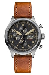 Ingersoll Watches Men's Bateman Automatic Multifunction Leather Strap Watch 45Mm Brown Black Silver