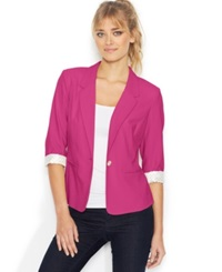 Kensie Three Quarter Sleeve Blazer Electric Pink