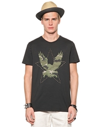 Richmond Studded And Printed Cotton T Shirt Black Camouflage