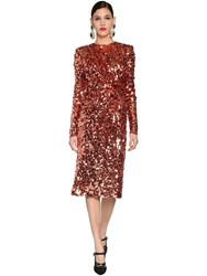 Dolce And Gabbana Sequined Stretch Tulle Midi Dress Pink