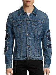 Helmut Lang Distressed Denim Cropped Jacket Indigo