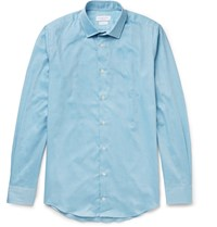 Richard James Slim Fit Cotton Twill Shirt Blue