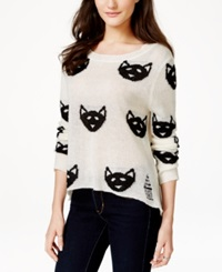 Material Girl Juniors' Graphic Sweater Only At Macy's Cloud Dancer