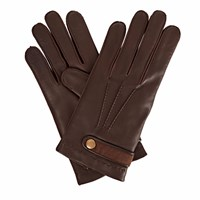 Gizelle Renee Alfie Mens Brown Leather Gloves With Coffee Cashmere