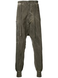 Lost And Found Rooms Zip Over Drop Crotch Trousers Brown