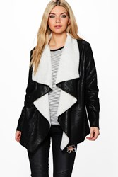 Boohoo Waterfall Bonded Suedette Jacket Black