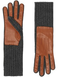 Burberry Cashmere And Lambskin Gloves Grey