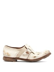 356b8a83dd9 Church s Shanghai Distressed Leather Buckled Brogues White