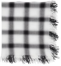 Attachment White And Black Rayon Silk Check Scarf