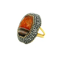 Soru Jewellery Laced Orange And Black Agate Ring Gold