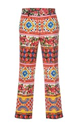Dolce And Gabbana Printed Crop Trousers White Red Blue