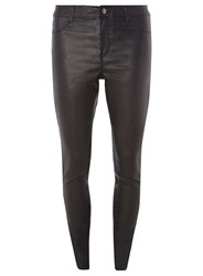 Dorothy Perkins Tall Pewter Glitter Coated Skinny Fit Jeans Black
