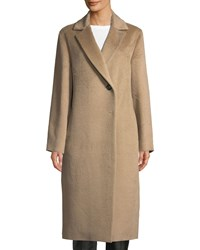Cinzia Rocca Notched Collar Long Sleeve Alpaca Blend Coat Camel