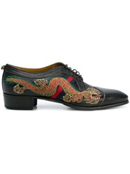 Gucci Dragon Embroidered Lace Up Shoes Black