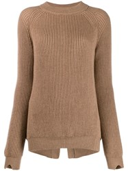 Stefano Mortari Ribbed Knit Sweater Neutrals
