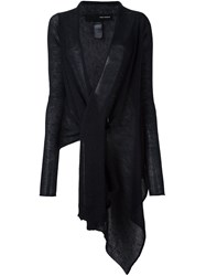 Isabel Benenato Asymmetric Elongated Cardigan Black