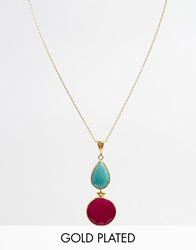 Ottoman Hands Classic Two Drop Necklace Turquoisehotpink