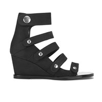Opening Ceremony Women's Pebbled Nubuck Olivia Wedged Sandals Black