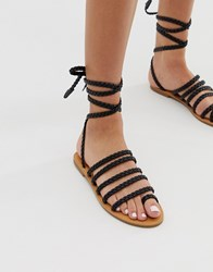 London Rebel Plaited Toe Loop Sandals Black