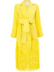 Maison Rabih Kayrouz Frayed Coat Women Silk Acetate Cupro Viscose 38 Yellow Orange