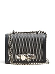 Alexander Mcqueen Knuckle Studded Leather Shoulder Bag Black