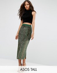 Asos Tall Pencil Skirt With Contrast Sequin Multi