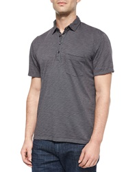 7 For All Mankind Raw Edge Short Sleeve Polo Shirt Gray