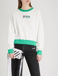Off White C O Virgil Abloh Woman Embroidered Detail Cotton Jersey Sweatshirt White Green