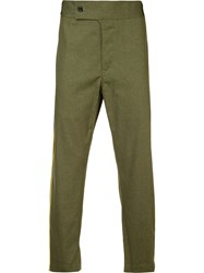 Ann Demeulemeester Side Pipping Cropped Trousers Green