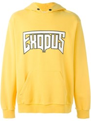 Palm Angels Exodus Print Hoodie Yellow And Orange
