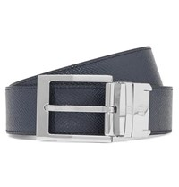 Dunhill 3.5Cm Black And Navy Reversible Pebble Grain Leather Belt Navy