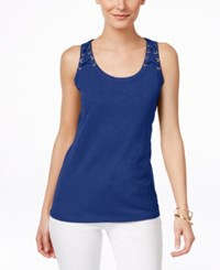 Inc International Concepts Lace Up Tank Top Only At Macy's Goddess Blue