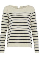 Autumn Cashmere Lace Up Striped Stretch Cotton Top Stone