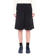 Izzue High Rise Wide Leg Knitted Culottes Navy