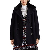 R 13 Shearling Trimmed Wool Double Breasted Coat Navy