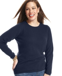 Charter Club Plus Size Cashmere Crew Neck Sweater Admiral Navy