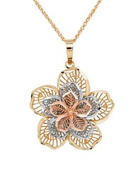 Lord And Taylor 14K Gold Perfectina Flower Pendant Necklace Yellow Gold