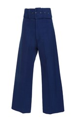 Sea Cropped Canvas Boating Pant Blue
