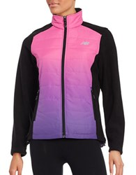 New Balance Dip Dyed Quilted And Fleece Performance Jacket Pink