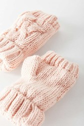 Urban Outfitters Cable Knit Plush Fingerless Glove Pink