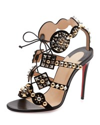 Christian Louboutin Kaleikita Spiked Lace Up 100Mm Red Sole Sandal Version Black