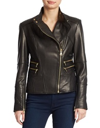 Vince Camuto Leather Moto Jacket Black
