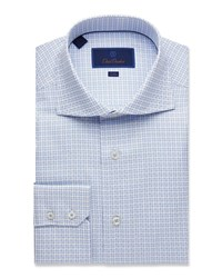 David Donahue Trim Fit Tonal Basketweave Dress Shirt Blue