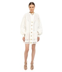 Just Cavalli Woven Flounce Shirtdress Off White Women's Dress